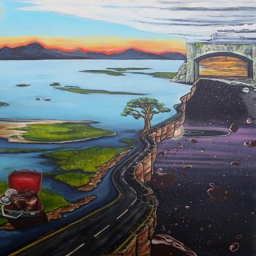 Ingrid Nuss art acrylic painting of the old Knysna road with the earth splitting next to the N2 and the Outeniqua mountain range and the Silver River bridge and the Outeniqua choochoo train and a paper nautilus shell with a live octopus and space with comets and sunsets