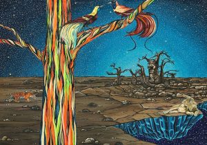 Ingrid Nuss art acrylic painting of a rainbow eucalyptus tree in a dead baobab desert with a lion and a tiger on the edge of space with dead baobab trees and birds of paradise.