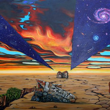 Ingrid Nuss art acrylic painting of rock faces of real rocks on the robberg hiking trail on a earth cracking open and a dramatic fiery sunset skey with space and the cosmos breaking through.