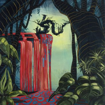Ingrid Nuss art acrylic painting of an ancient Japanes plum tree in a dark forest with a red waterfall and a raven with organic patterns in the darkness.