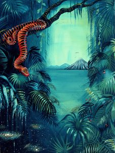 Ingrid Nuss art acrylic painting of a orange snake with zebra stripes on a tree in a jungle with space and a volcano in the distance.