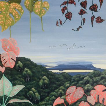 Ingrid Nuss art Acrylic painting of Wilderness, Garden Route, Island Lake sunrise with the lush green forest and hanging plants with decorative organic patterns.