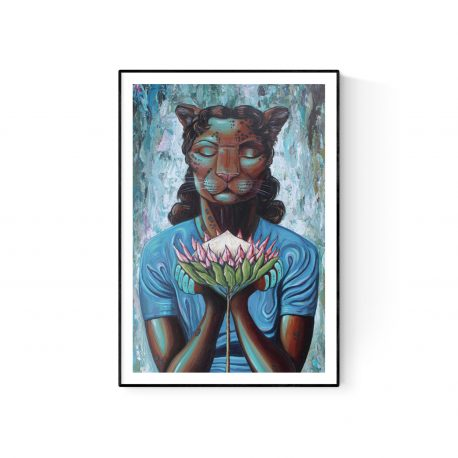 Lady with Protea paper print