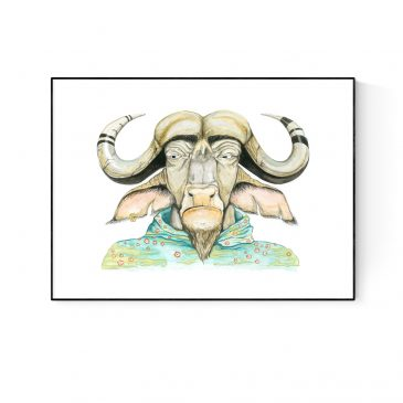 """""""Badass Buffalo"""" Paper and Canvas Prints"""